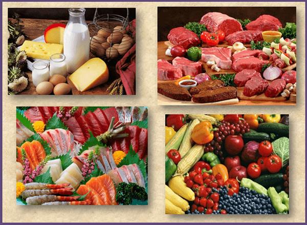 Здоровая еда: мясо-молочные продукты, фрукты и овощи, рыба