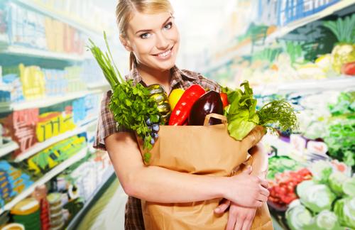 Продукты питания в супермаркете