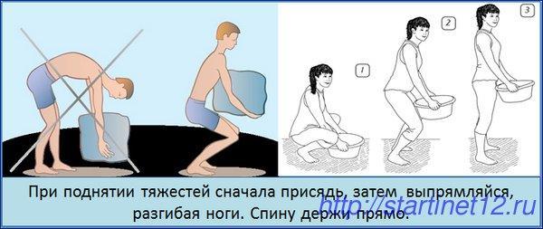Правильный подъем тяжестей при остеохондрозе
