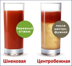 Сок из шнековой и центробежной соковыжималки
