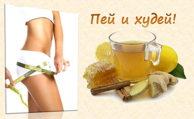 Напиток с имбирем, корицей, медом и лимоном для похудения