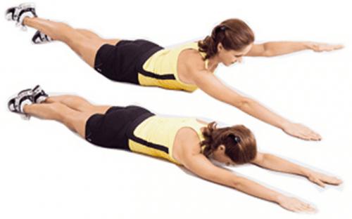 На животе - попеременный подъем руки и ноги с противоположной стороны