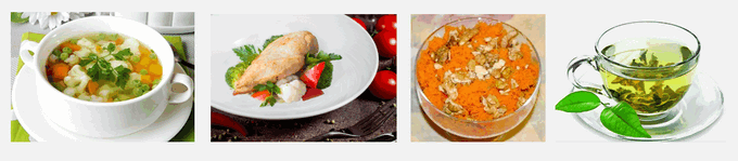 Обед из полезных продуктов для противогрибковой диеты