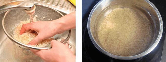 Приготовление рисового молока: промываем и замачиваем рис